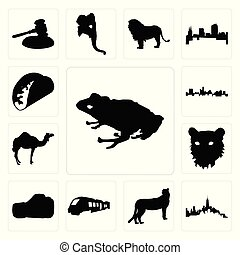 Set of frog outline on white background, manhattan cheetah train images background icons