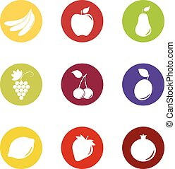 Set of fruit and berry icons on color background, vector illustration