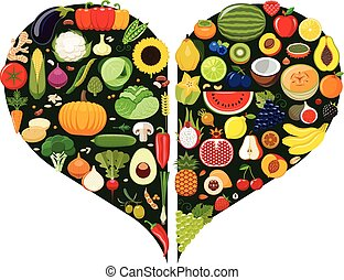 Set of fruit and vegetable icons.