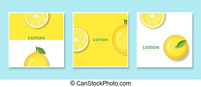 Set of fruit banners with lemon in paper art style