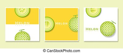 Set of fruit banners with melon in paper art style