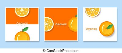 Set of fruit banners with orange in paper art style