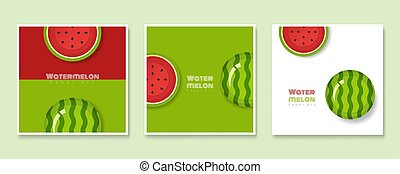 Set of fruit banners with watermelon in paper art style