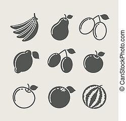 set of fruit food icon