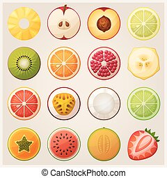 Set of fruit halves. Vector icons.