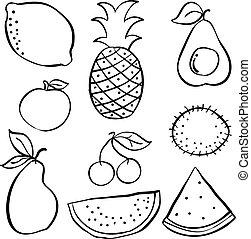 Set of fruit hand draw doodle