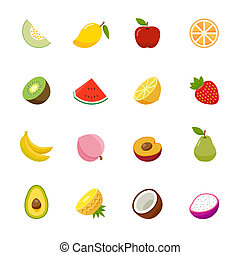 Set of Fruit Icon. - Fruit full color flat design icon....