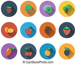 Set of fruit icons in flat design. EPS 10 vector...
