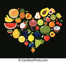 Set of fruit icons forming heart.