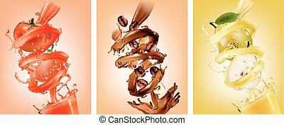 Set of fruit in juice splashes.Pear, chocolate, coffee, tomato. Vector.