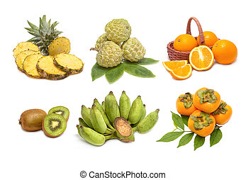 set of fruit isolated on a white background