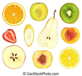 set of fruit slices isolated on white