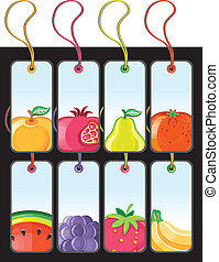 Set of fruit tags.