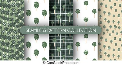 Set of fruit trees seamless pattern. Doodle style. Vector illustration.