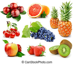 set of fruits and berries isolated on white background