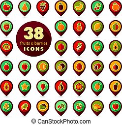 Set of Fruits and Berries pin map icon
