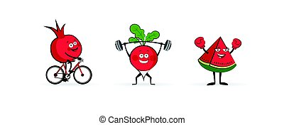 Set of fruits and vegetables doing sport. illustration isolated on white background. Cute and focused fruits and vegetable characters
