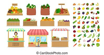 Set of fruits and vegetables. Food in wooden box