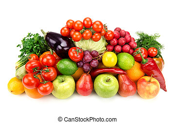 set of fruits and vegetables isolated on white background