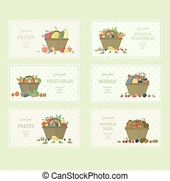 Set of fruits and vegetables labels