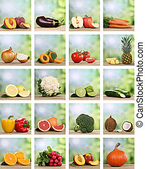 Set of fruits and vegetables like apple, orange, lemon and...