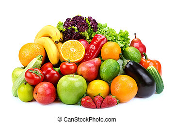 set of fruits and vegetables  on white background