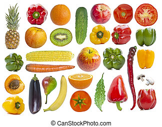 Set of fruits and vegetables on white