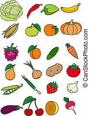Set of fruits and vegetables - Set of vegetables, fruits and...