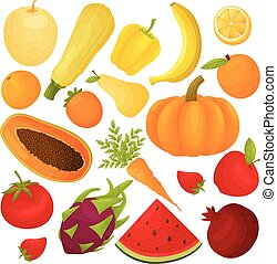 Set of fruits and vegetables. Vector illustration on white background.