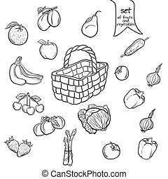 Set of fruits and vegetables with a basket in black contour