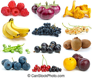 Set of fruits, berries, vegetables and mushrooms of different colours isolated on the white background