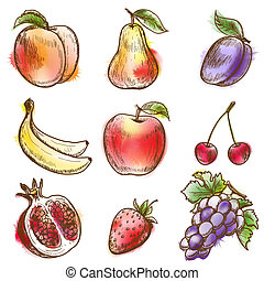 Set of fruits. Original vector illustration, imitation of...