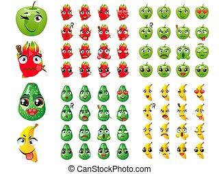 Set of fruits. Emoji Emoticon Expression, Pitaya, banana, apple, pear.