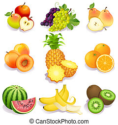 fruits - set of fruits icons