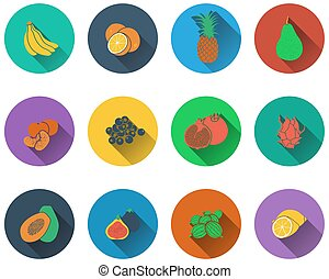 Set of fruits icons in flat design