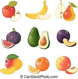 Set of fruits. ICONS