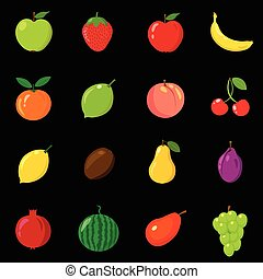 Set of fruits in different style. Line, flat, cartoon, black. White background. Vector illustration.