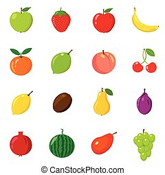 Set of fruits in different style. Line, flat, cartoon. White background. Vector illustration.