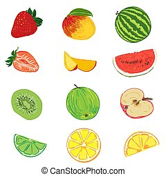 set of fruits in sketch style, vector illustration
