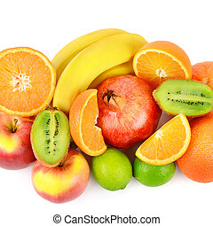 Set of fruits isolated on a white background.
