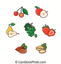 Set of fruits isolated on dark background.