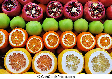 Set of fruits on the market