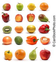 Set of fruits on white