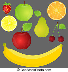 Set of fruits. Vector illustration.