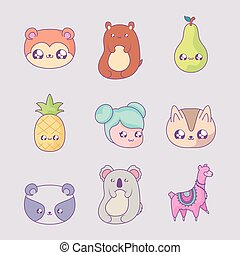 set of fruits with girl and cute animals kawaii style
