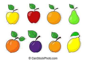 Fruit icons on the white background.