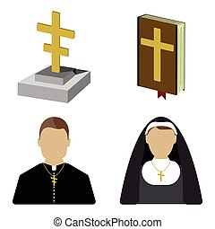 Set of funeral cartoon icon. Isolated vector illustration.