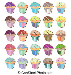 Set of Funky Cute Cupcakes