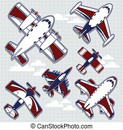 set of funny airplanes cartoon for childish decoration in vector format very easy to edit, individual objects