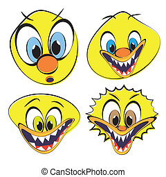 Set of funny and ugly smileys, vector illustration.